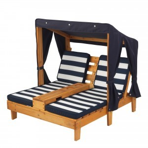 Tweepersoons Houten kinder ligstoel -chaise longue- (Honingkleur & blauw/wit) - Kidkraft (00524)