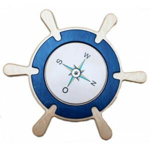 Wandpaneel Stuurwiel Met Kompas