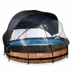 EXIT Wood Zwembad ø360x76cm met Overkapping, Schaduwdoek en Filterpomp - Bruin 30.36.12.10