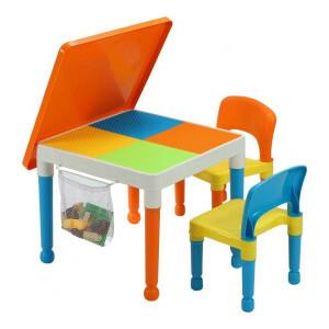 Multifunctionele activiteitentafel en 2 stoelen met opbergvak