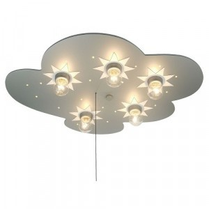 Plafondlamp Wolk, Titanium met Sterren