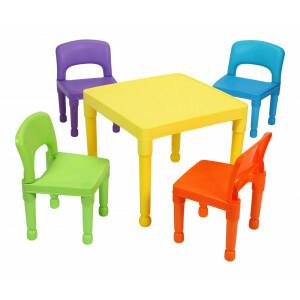 Kinder multi-gekleurde tafel en 4 stoelen set