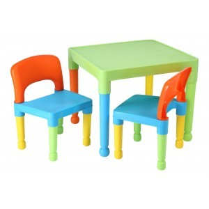 Kinder multi-gekleurde tafel en 2 stoelen Set