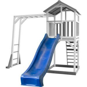 Axi Beach Tower Speeltoestel met Klimrek Grijs/Wit - Blauwe Glijbaan
