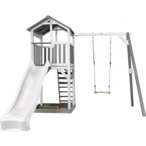Beach Tower Speeltoren met Enkele Schommel Grijs/wit - Witte Glijbaan