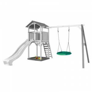 Axi Beach Tower Speeltoren met Summer Nestschommel Grijs / Wit - Witte Glijbaan