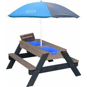 AXI Nick Zand & Water Picknicktafel Antraciet/grijs - Parasol Grijs/blauw – FSC Hout