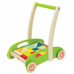 Houten loopwagen met blokken - Blokkenwagen