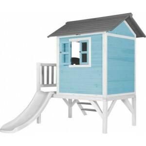 Lodge XL Speelhuis Caribisch blauw - Witte Glijbaan
