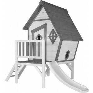 Cabin XL Speelhuis Grijs/wit - Witte Glijbaan
