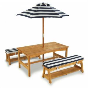 Houten Kindertuinset Picknicktafel met Kussens en Parasol - Kidkraft (00106)
