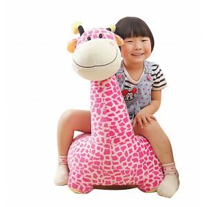 Pluche Giraffe Zitje roze