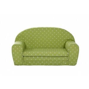 Uitklapbare Mini sofa (lime-groen met witte stippen) - Gepetto (05.07.04.01)