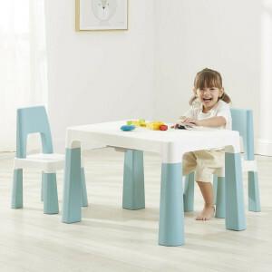 Witte en Groene Kindertafel en 2 Stoelen in Hoogte Verstelbaar
