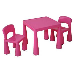Roze kindertafel en -stoelen set