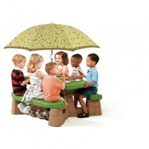 Picknicktafel met parasol (naturel) - Step2 (787700)