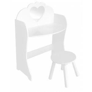 Witte houten kaptafel en krukje (TF5301)