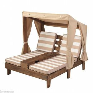 Tweepersoons Houten kinder ligstoel -chaise longue- (Espressokleur & bruin/wit) - Kidkraft (00534)